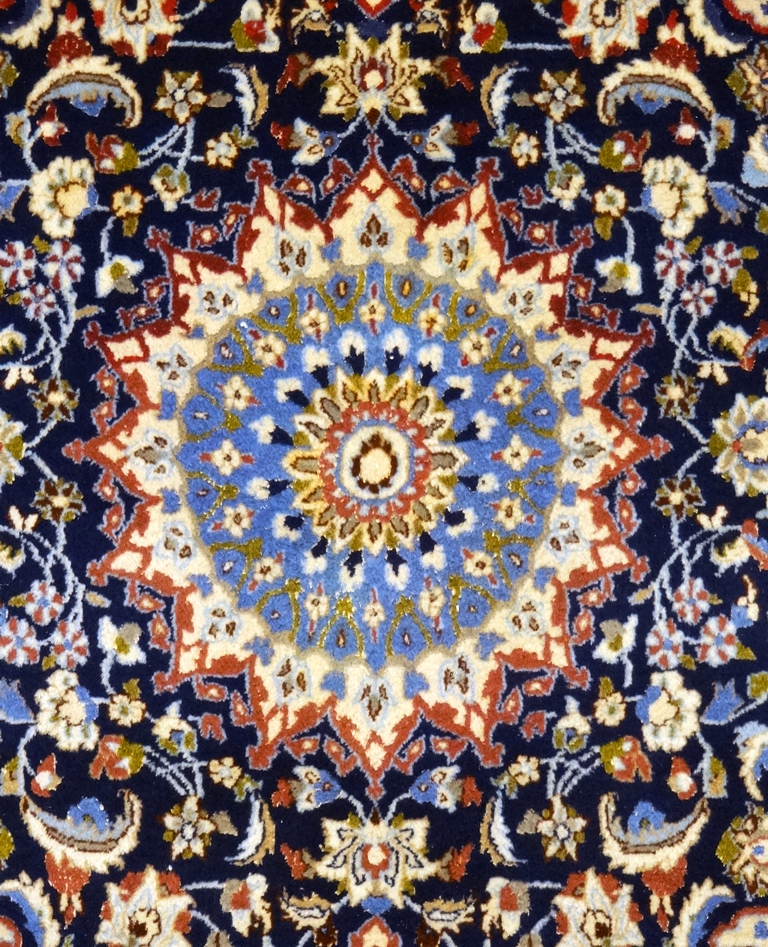 Tappeto Nain blu lana seta 197x113