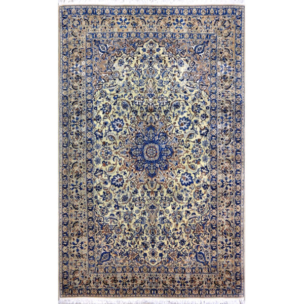 Tappeto Nain 6 fili extra fine lana Seta persiano floreale. 258x160