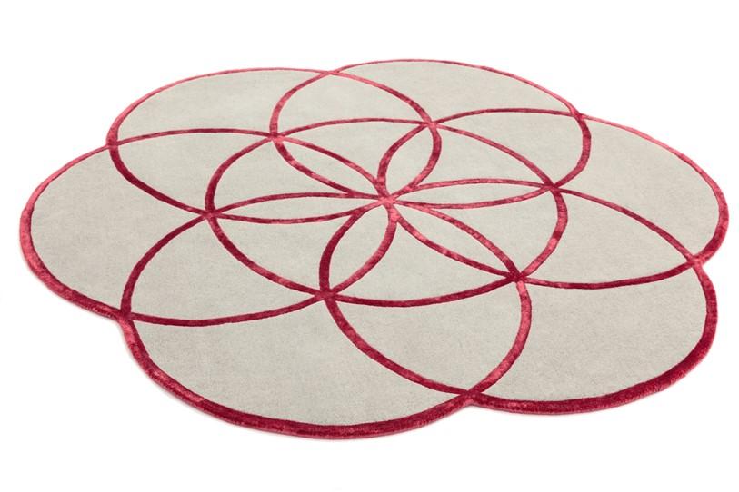Tappeto lotus Red rotondo cm200