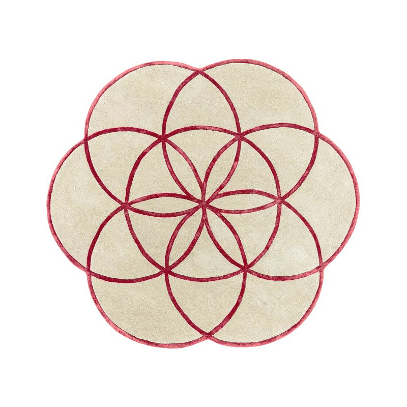 tappeto lotus Red rotondo